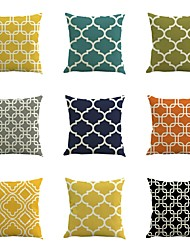 Set Of 9 Solid Color Geometry Stripe Pillow Cover Classic Square 45*45Cm Pillow Case