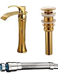 Installazione centrale Cascata with  Valvola in ceramica Oro , Lavandino rubinetto del bagno