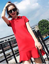 Women's Going out Casual/Daily Simple Trumpet/Mermaid Dress,Solid Shirt Collar Above Knee Short Sleeves Acrylic Summer Mid Rise