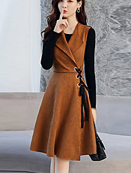 Women's Going out Casual/Daily Vintage Sophisticated Street chic Sheath Dress,Striped Round Neck Knee-length Long Sleeves Others Spring