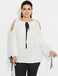 baratos -Mulheres Tamanhos Grandes Camiseta Fofo Moda de Rua Frente Única Laço,Sólido