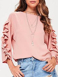 cheap -Women's Daily / Going out Street chic T-shirt - Solid Colored / Spring / Fall / Ruffles and Frills