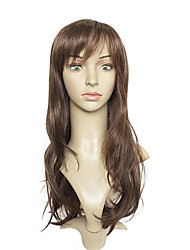 Women Synthetic Wig Capless Long Wavy Brown Layered Haircut Celebrity Wig Costume Wigs