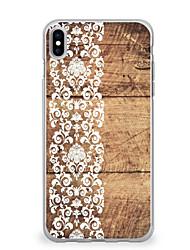Per iPhone X iPhone 8 Custodie cover Ultra sottile Fantasia/disegno Custodia posteriore Custodia Simil-legno La stampa in pizzo Morbido
