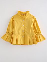 baratos -Para Meninas Blusa Sólido Outono Algodão Manga Longa Amarelo