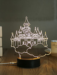 1 Set, Popular Home Acrylic 3D Night Light LED Table Lamp USB Mood Lamp Gifts, Castle