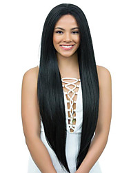 cheap -Virgin Human Hair Full Lace / Lace Front Wig / Glueless Full Lace Wig Brazilian Hair Yaki Straight 130% / 150% / 180% Density With Baby Hair / Natural Hairline / 100% Virgin Women's Long Human Hair