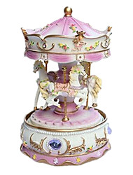 cheap -Music Box Toys Cute Furnishing Articles Horse Carousel Cartoon Merry Go Round Plastics Romantic 1 Pieces Unisex Birthday Gift