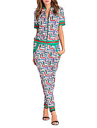 Women's Sports Going out Simple Street chic Spring Fall T-shirt Pant Suits,Geometric Print Round Neck Short Sleeve Micro-elastic