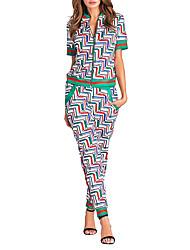 preiswerte -Damen Geometrisch Druck Einfach Street Schick Sport Ausgehen T-Shirt-Ärmel Hose Anzüge,Rundhalsausschnitt Frühling Herbst Kurzarm