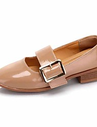 cheap -Women's Shoes PU Fall Comfort Flats Flat Heel Square Toe Buckle For Casual Almond Beige Black