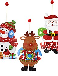 3pc Christmas Tree Ornaments Elk Snowman Santa Claus Display Window Wall Door Stickers Cartoon Pendants Hanging Decor for Christmas