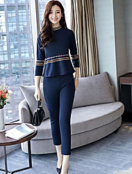 Women's Casual/Daily Simple Fall T-shirt Pant Suits,Solid Print Round Neck Long Sleeve Others Micro-elastic