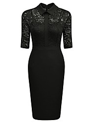 Women's Going out Work Sexy Vintage Simple Sheath Dress,Solid Embroidered Shirt Collar Knee-length Half Sleeves Cotton Polyester Summer