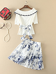 Women's Going out Sophisticated Fall T-shirt Skirt Suits,Print Boat Neck Short Sleeve Bow Stretchy
