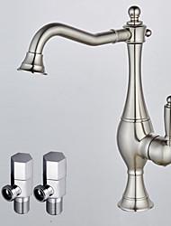abordables -Moderno Lavabo Rotativo Válvula Cerámica Níquel Cepillado, Conjunto de grifería