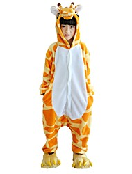 cheap -Kigurumi Pajamas Giraffe Onesie Pajamas Costume Flannel Fabric Yellow Cosplay For Kid Animal Sleepwear Cartoon Halloween Festival /