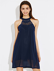 Women's Party Beach Loose Dress,Solid Halter Above Knee Sleeveless Others Spring Summer Mid Rise Inelastic Thin