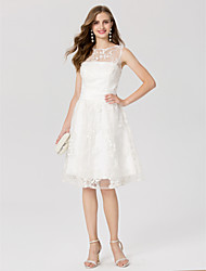 cheap -A-Line Jewel Neck Knee Length Lace Cocktail Party Dress with Sash / Ribbon by TS Couture®