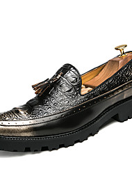 cheap -Men's Loafers & Slip-Ons Formal Shoes Fall Winter Patent Leather Casual Office & Career Party & Evening Dress Brown Black Under 1in