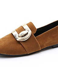 Women's Shoes Cashmere Fall Comfort Loafers & Slip-Ons Flat Heel Round Toe For Casual Red Brown Black