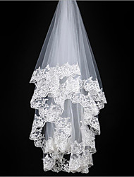cheap -One-tier Lace Applique Edge Wedding Veil Elbow Veils With Applique Embroidery Tulle