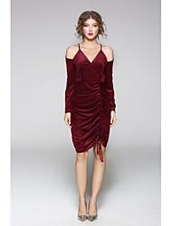cheap -JOJO HANS Women's Daily Going out Sheath Dress,Solid Print Strap Knee-length Long Sleeves Silk Polyester Summer Mid Rise Micro-elastic Medium