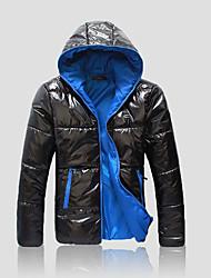 preiswerte -Herrn Solide Retro Street Schick Alltag Übergrössen Standard Mantel, Mit Kapuze Winter Herbst Polyester