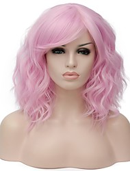 Women Synthetic Wig Capless Short Water Wave Black/Dark Green Blue Pink Dark Blonde Brown Halloween Wig Costume Wig