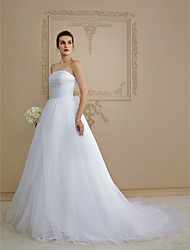 A-Line Strapless Chapel Train Organza Wedding Dress with Bow Button Side-Draped by LAN TING BRIDE®