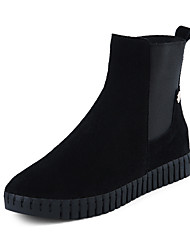 cheap -Women's Shoes Leather Winter Bootie / Comfort Boots Low Heel / Platform Round Toe Booties / Ankle Boots Gore for Dress Black / Almond