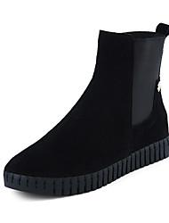 baratos -Mulheres Sapatos Couro Inverno Curta / Ankle / Conforto Botas Salto Baixo / Plataforma Ponta Redonda Botas Curtas / Ankle Elástico para