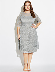 Women's Lace Plus Size / Casual/Daily / Party Vintage / Street chic Sheath DressPrint Lace Round Neck Knee-length Length Sleeve Red