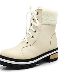cheap -Women's Shoes Leatherette Winter Fall Fluff Lining Bootie Combat Boots Boots Low Heel Platform Round Toe Booties/Ankle Boots Lace-up for