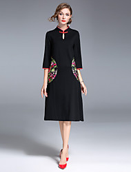 cheap -8CFAMILY Women's Party Daily Going out Vintage Street chic Chinoiserie A Line Dress,Embroidered Stand Midi Knee-length Half Sleeves Cotton Nylon