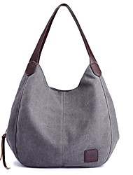 cheap -Women's Bags Canvas Shoulder Bag Zipper for Casual All Seasons Black Beige Gray Purple Coffee