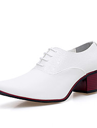 Men's Shoes Real Leather Spring Fall Formal Shoes Comfort Oxfords Lace-up For Office & Career Party & Evening Black White