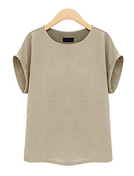 cheap -Women's Daily Going out Work Plus Size Casual Street chic Spring Summer T-shirt,Solid Round Neck Short Sleeves Linen Opaque
