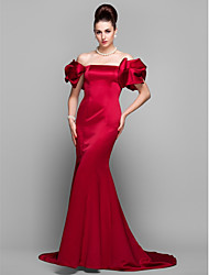 cheap -Mermaid / Trumpet Off Shoulder Court Train Satin Formal Evening Dress with Pleats by TS Couture® / Puff / Balloon Sleeve