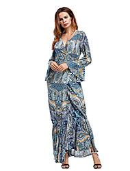 cheap -Women's Daily Holiday Vintage Boho Sheath Dress,Print V Neck Maxi Long Sleeves Polyester Fall High Rise Inelastic Thin