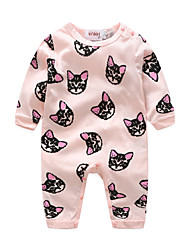 cheap -Baby Girls' Animal One-Pieces, Cotton Spring/Fall Cartoon Long Sleeves Blushing Pink