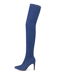 Women's Shoes Fabric Fall Winter Comfort Boots Stiletto Heel Thigh-high Boots For Casual Light Blue Dark Blue