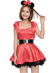 cheap -Mouse Cosplay Costume Christmas Halloween Carnival Oktoberfest New Year Festival / Holiday Halloween Costumes Red Solid Color Fashion