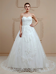 cheap -Ball Gown Sweetheart Court Train Lace Wedding Dress with Beading Appliques Buttons by LAN TING BRIDE®