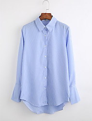 cheap -Women's Daily Holiday Casual Fall Shirt,Striped Classic Collar Long Sleeves Cotton Thin
