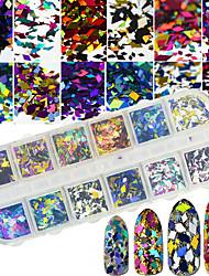 economico -Accessori del salone del chiodo 3d di disegno del rombo dei sequins della glassa di arte del chiodo di 12styles / box
