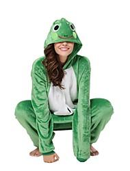 Kigurumi Pajamas Frog Costume Green Flannel Kigurumi Leotard / Onesie Cosplay Festival / Holiday Animal Sleepwear Halloween Animal For
