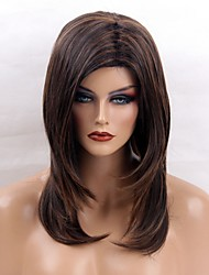 cheap -Women Synthetic Wig Capless Long Straight Brown African American Wig Highlighted/Balayage Hair With Bangs Natural Wigs Costume Wig