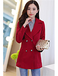 Women's Going out Street chic Fall Winter Coat,Solid Notch Lapel Long Sleeve Regular Polyester