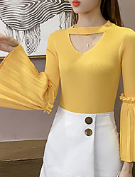 Women's Going out Casual/Daily Simple Cute Regular Pullover,Solid V Neck Long Sleeves Acrylic Fall Winter Medium Micro-elastic